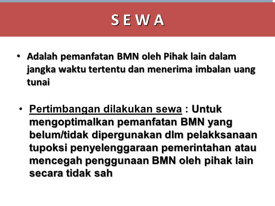 S E W A Adalah pemanfatan BMN oleh Pihak lain dalam jangka waktu tertentu dan menerima imbalan uang tunai.