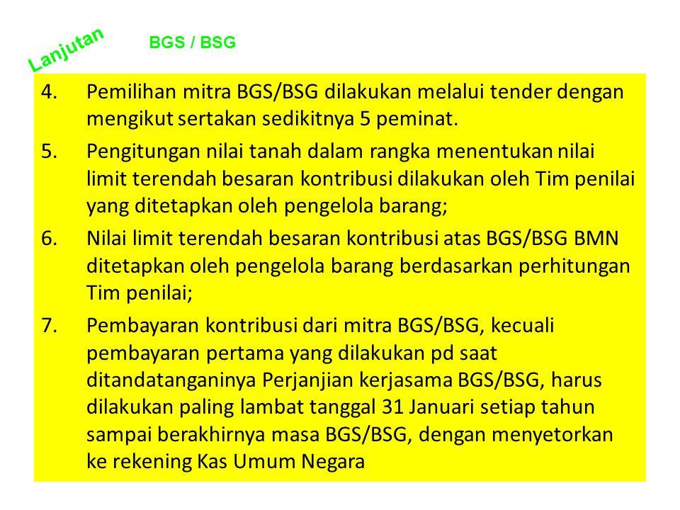 Lanjutan BGS / BSG. Pemilihan mitra BGS/BSG dilakukan melalui tender dengan mengikut sertakan sedikitnya 5 peminat.