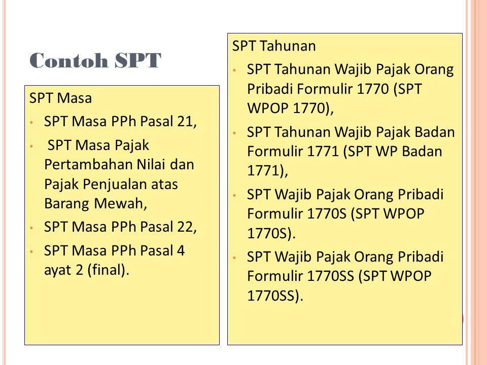 Contoh SPT SPT Tahunan. SPT Tahunan Wajib Pajak Orang Pribadi Formulir 1770 (SPT WPOP 1770),