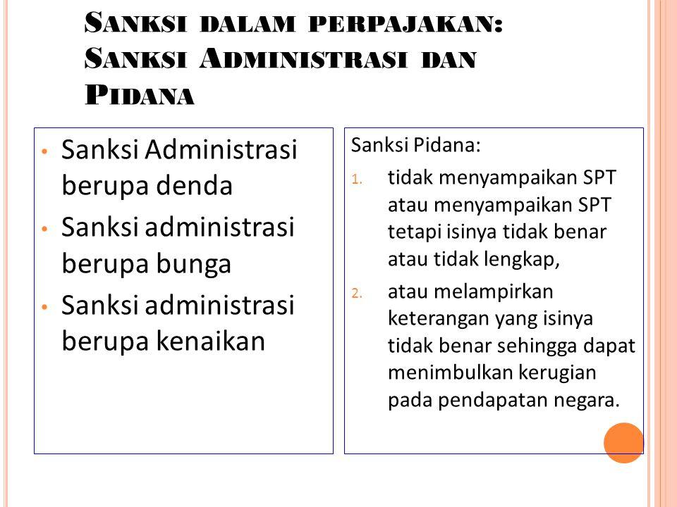Sanksi dalam perpajakan: Sanksi Administrasi dan Pidana