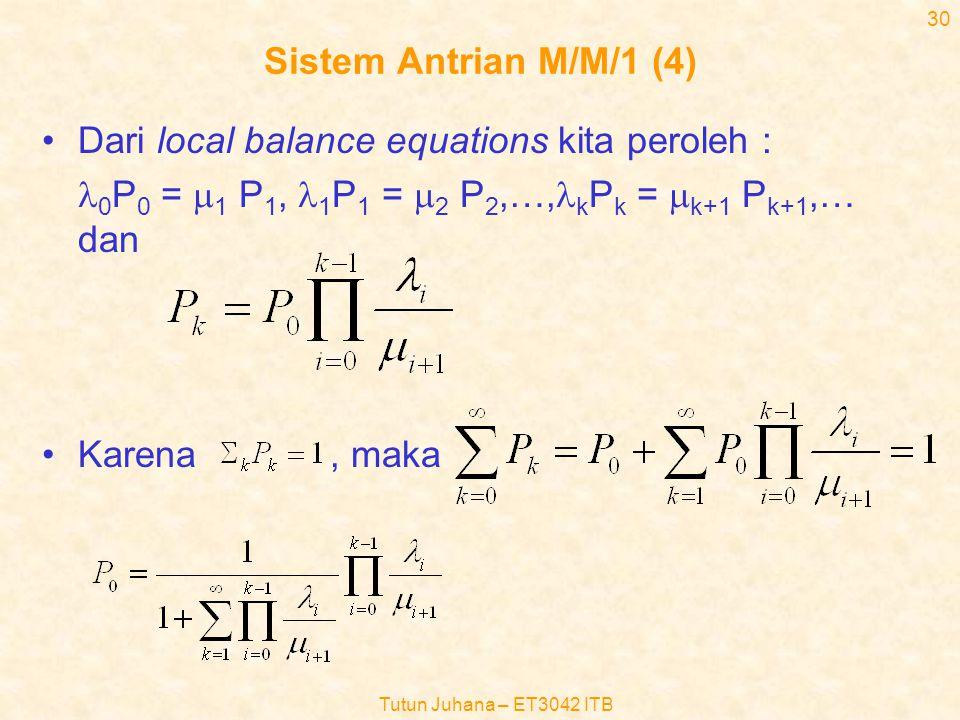 Dari local balance equations kita peroleh :