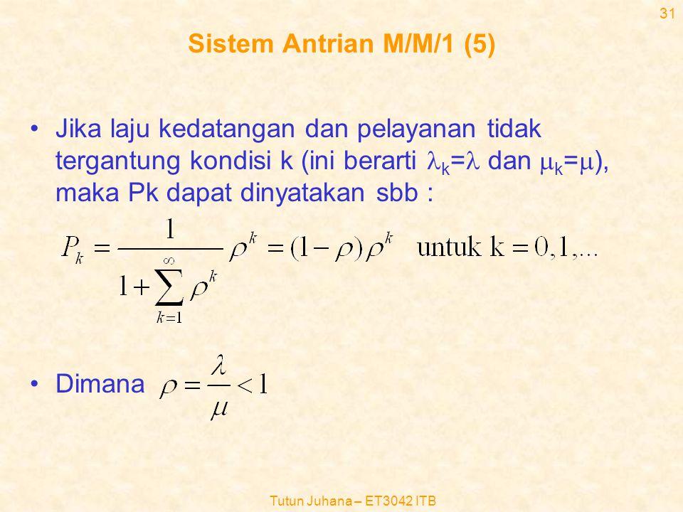 Sistem Antrian M/M/1 (5) Jika laju kedatangan dan pelayanan tidak tergantung kondisi k (ini berarti lk=l dan mk=m), maka Pk dapat dinyatakan sbb :
