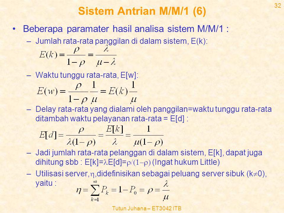 Sistem Antrian M/M/1 (6) Beberapa paramater hasil analisa sistem M/M/1 : Jumlah rata-rata panggilan di dalam sistem, E(k):