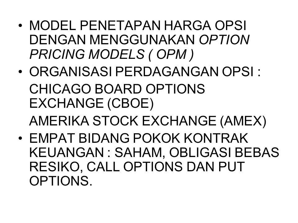 MODEL PENETAPAN HARGA OPSI DENGAN MENGGUNAKAN OPTION PRICING MODELS ( OPM )
