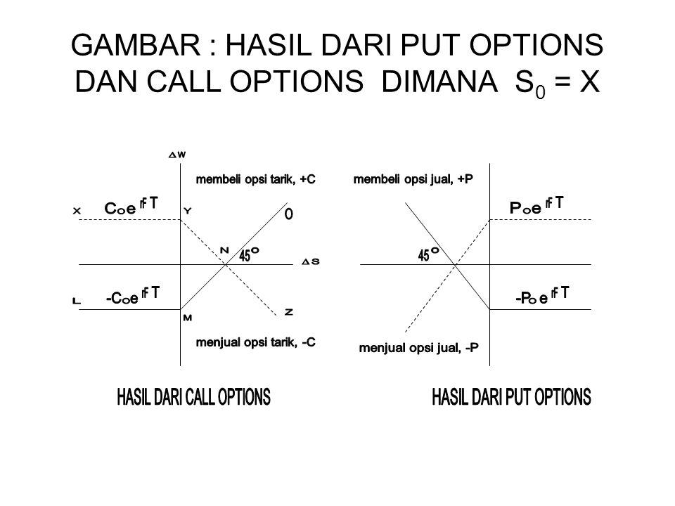 GAMBAR : HASIL DARI PUT OPTIONS DAN CALL OPTIONS DIMANA S0 = X