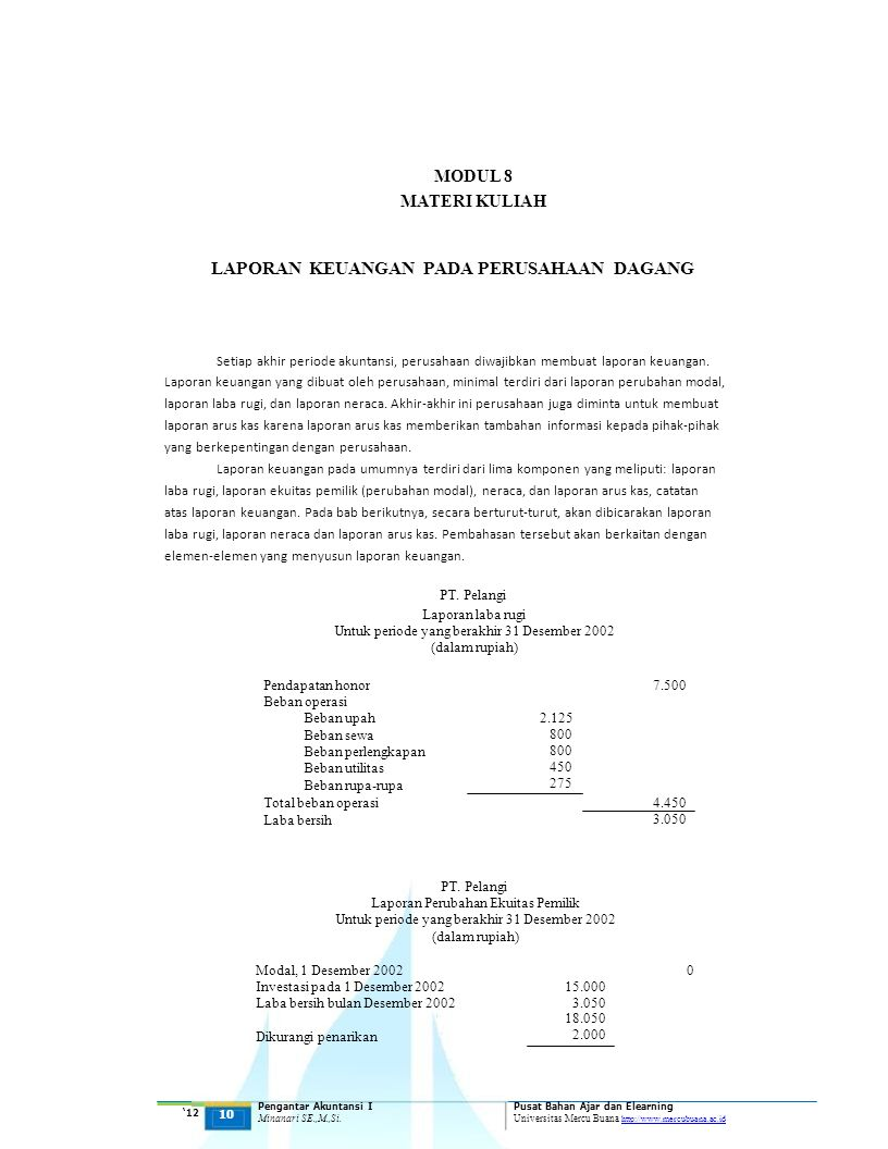 MODUL 8 PT. Pelangi MATERI KULIAH
