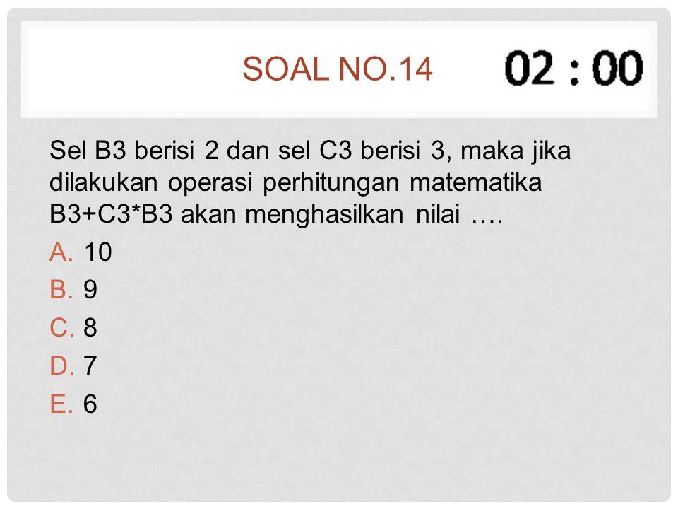 Soal no.14 Sel B3 berisi 2 dan sel C3 berisi 3, maka jika dilakukan operasi perhitungan matematika B3+C3*B3 akan menghasilkan nilai ….