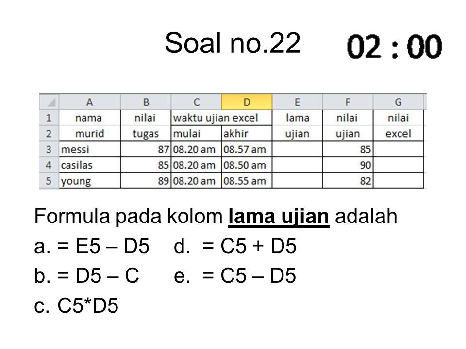 Soal no.22 Formula pada kolom lama ujian adalah = E5 – D5 d. = C5 + D5