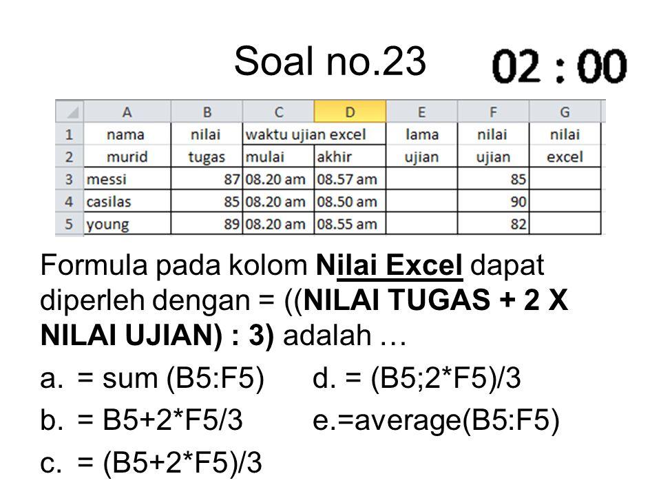 Soal no.23 Formula pada kolom Nilai Excel dapat diperleh dengan = ((NILAI TUGAS + 2 X NILAI UJIAN) : 3) adalah …