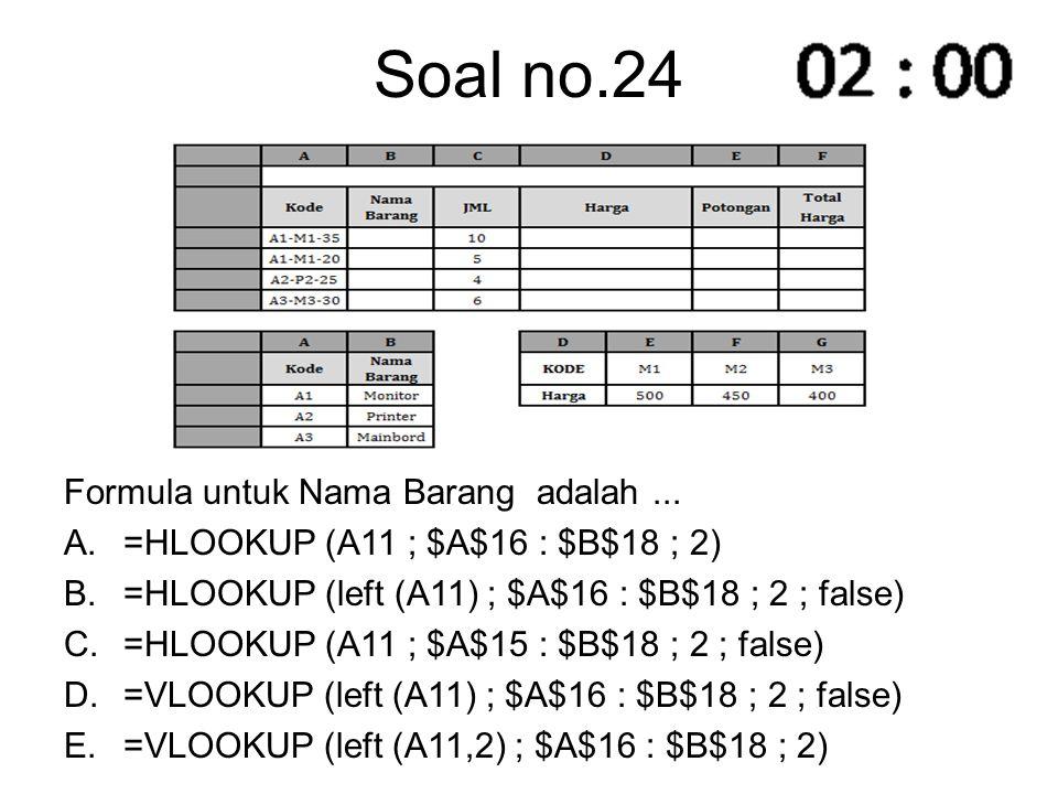 Soal no.24 Formula untuk Nama Barang adalah ...