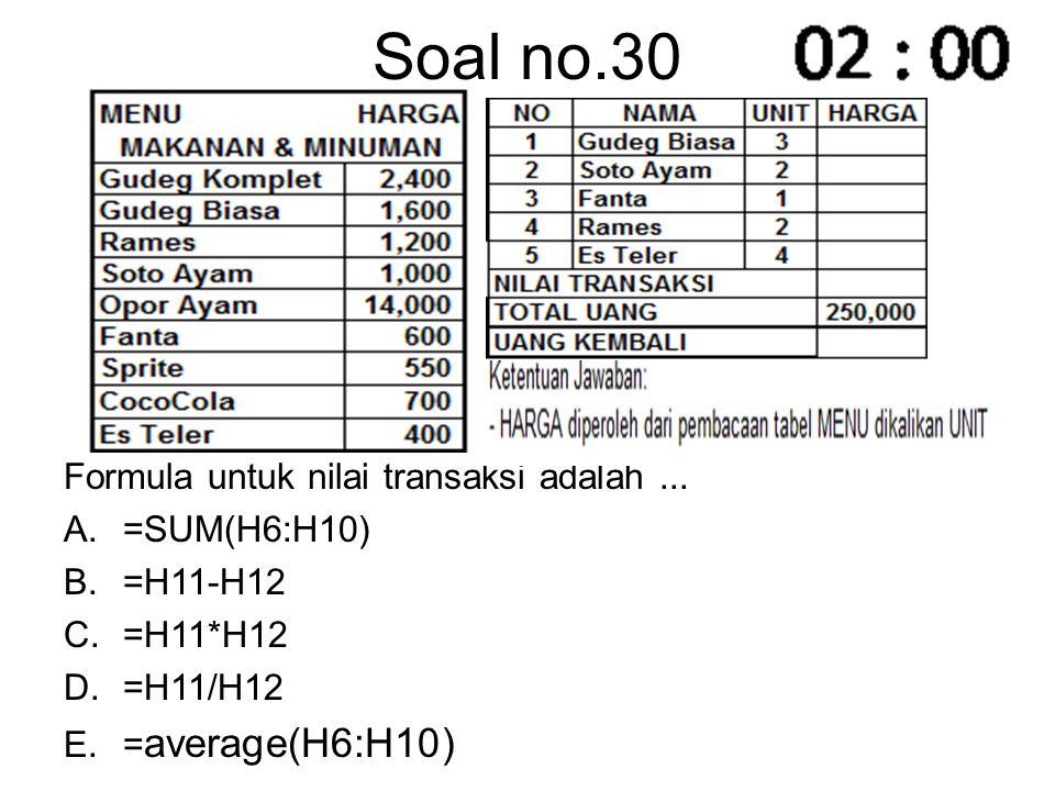 Soal no.30 Formula untuk nilai transaksi adalah ... =SUM(H6:H10)