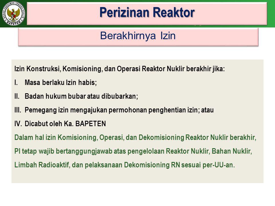 Perizinan Reaktor Berakhirnya Izin