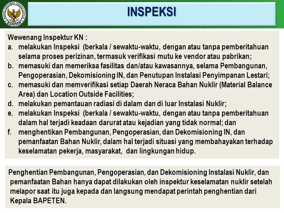 INSPEKSI Wewenang Inspektur KN :