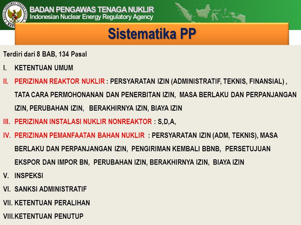 Sistematika PP Terdiri dari 8 BAB, 134 Pasal KETENTUAN UMUM