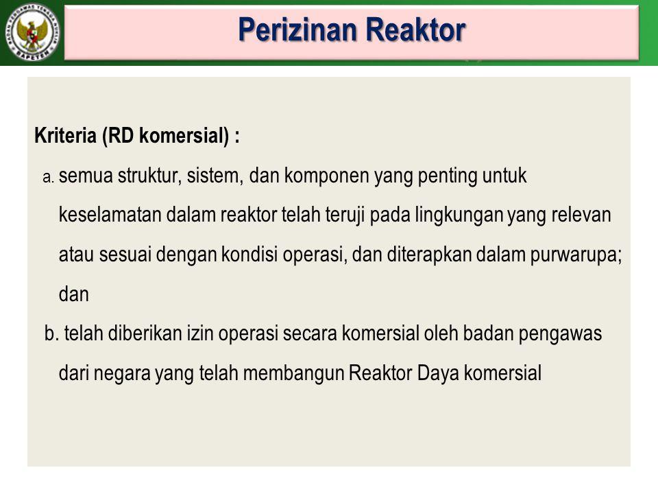 Perizinan Reaktor Kriteria (RD komersial) :