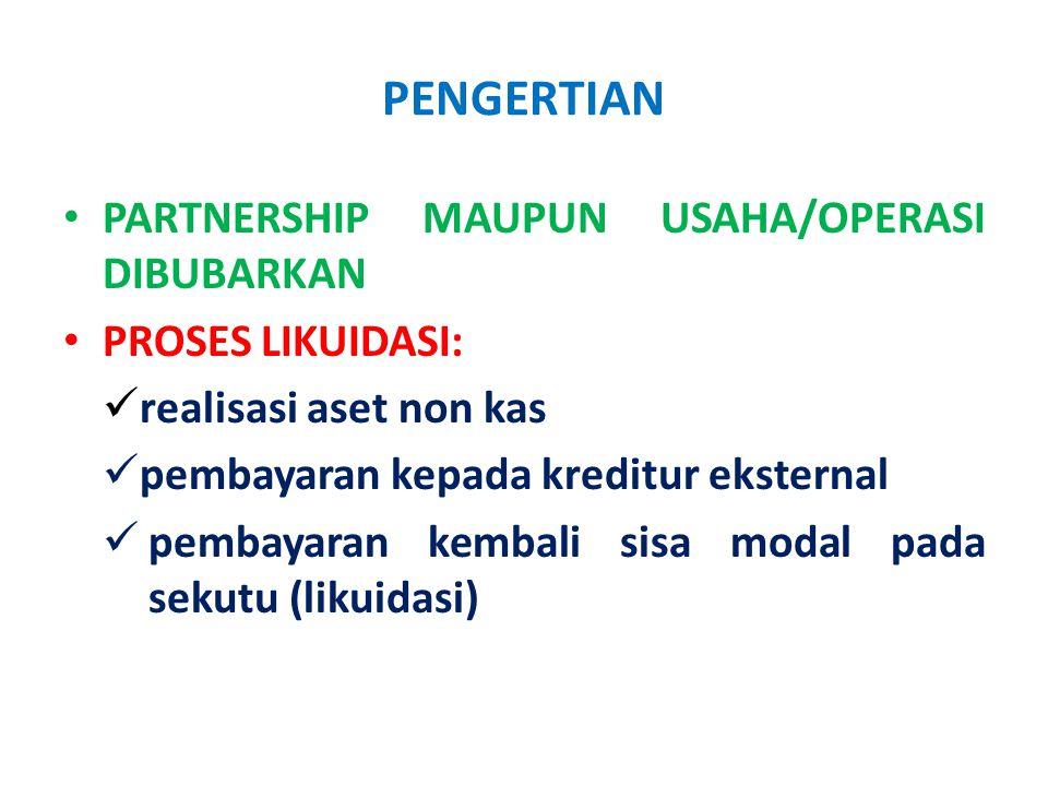 PENGERTIAN PARTNERSHIP MAUPUN USAHA/OPERASI DIBUBARKAN
