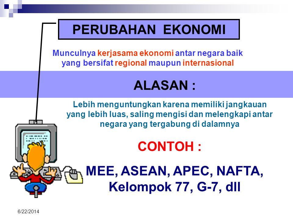 MEE, ASEAN, APEC, NAFTA, Kelompok 77, G-7, dll