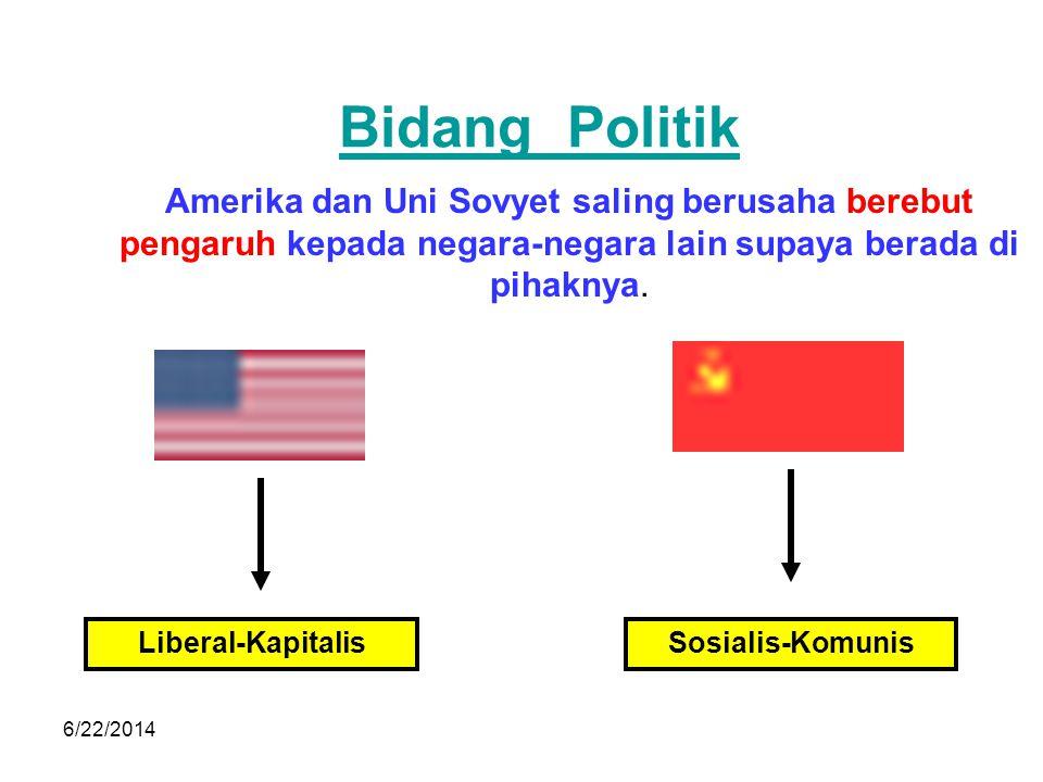 Bidang Politik Amerika dan Uni Sovyet saling berusaha berebut pengaruh kepada negara-negara lain supaya berada di pihaknya.