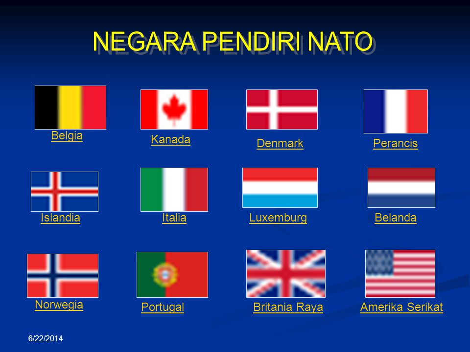 NEGARA PENDIRI NATO Denmark Belgia Kanada Perancis Luxemburg Islandia