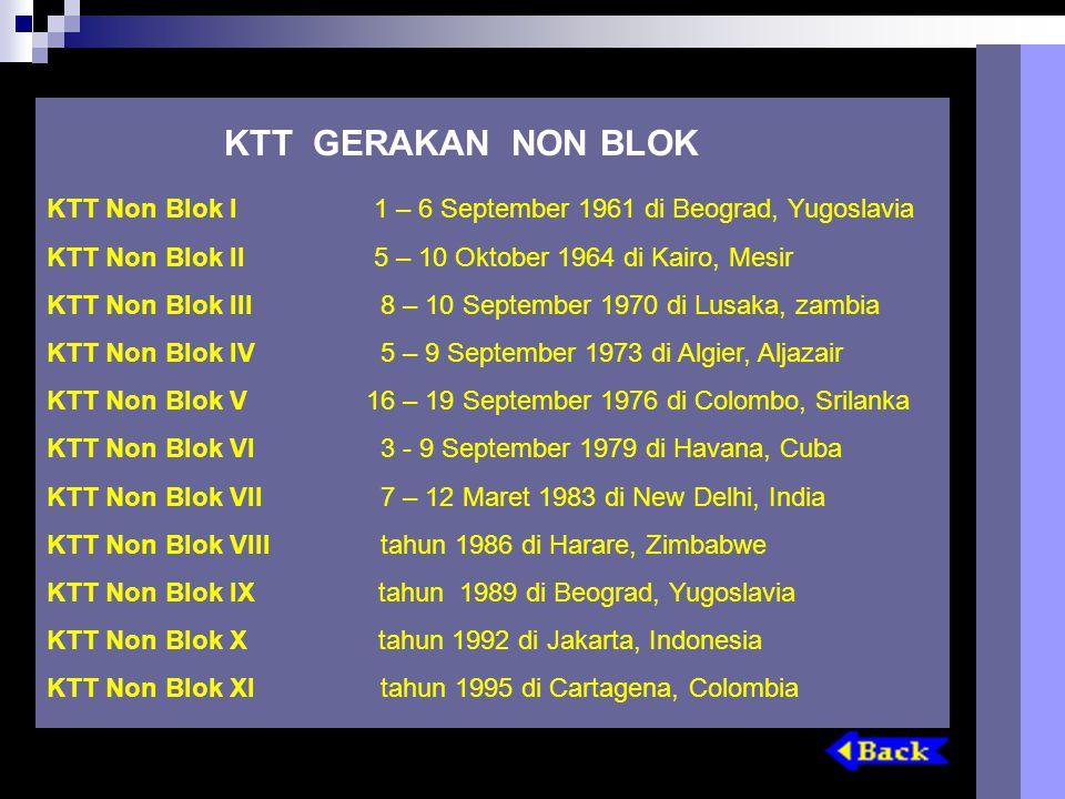 KTT GERAKAN NON BLOK KTT Non Blok I 1 – 6 September 1961 di Beograd, Yugoslavia. KTT Non Blok II 5 – 10 Oktober 1964 di Kairo, Mesir.