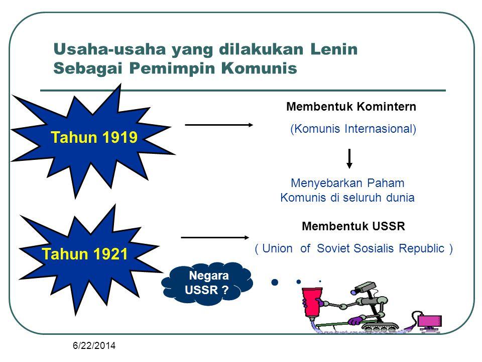 Usaha-usaha yang dilakukan Lenin Sebagai Pemimpin Komunis