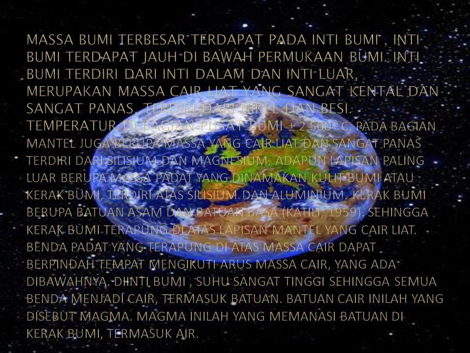 Massa bumi terbesar terdapat pada inti bumi , inti bumi terdapat jauh di bawah permukaan bumi. Inti bumi terdiri dari inti dalam dan inti luar, merupakan massa cair liat yang sangat kental dan sangat panas, terdiri dari nikel dan besi. Temperatur di bagian pusat bumi ± 2.500o C. pada bagian mantel juga berupa massa yang cair liat dan sangat panas terdiri dari silisium dan magnesium. Adapun lapisan paling luar berupa massa padat yang dinamakan kulit bumi atau kerak bumi, terdiri atas silisium dan aluminium. Kerak bumi berupa batuan asam dan batuan basa (katili, 1959). Sehingga kerak bumi terapung di atas lapisan mantel yang cair liat. Benda padat yang terapung di atas massa cair dapat berpindah tempat mengikuti arus massa cair, yang ada dibawahnya. Diinti bumi , suhu sangat tinggi sehingga semua benda menjadi cair, termasuk batuan. Batuan cair inilah yang disebut magma. Magma inilah yang memanasi batuan di kerak bumi, termasuk air.