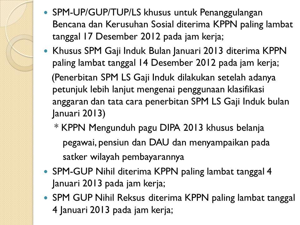 SPM-UP/GUP/TUP/LS khusus untuk Penanggulangan Bencana dan Kerusuhan Sosial diterima KPPN paling lambat tanggal 17 Desember 2012 pada jam kerja;