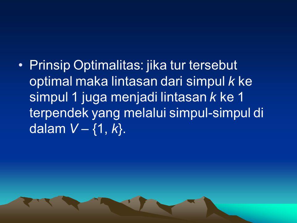 Prinsip Optimalitas: jika tur tersebut optimal maka lintasan dari simpul k ke simpul 1 juga menjadi lintasan k ke 1 terpendek yang melalui simpul-simpul di dalam V – {1, k}.