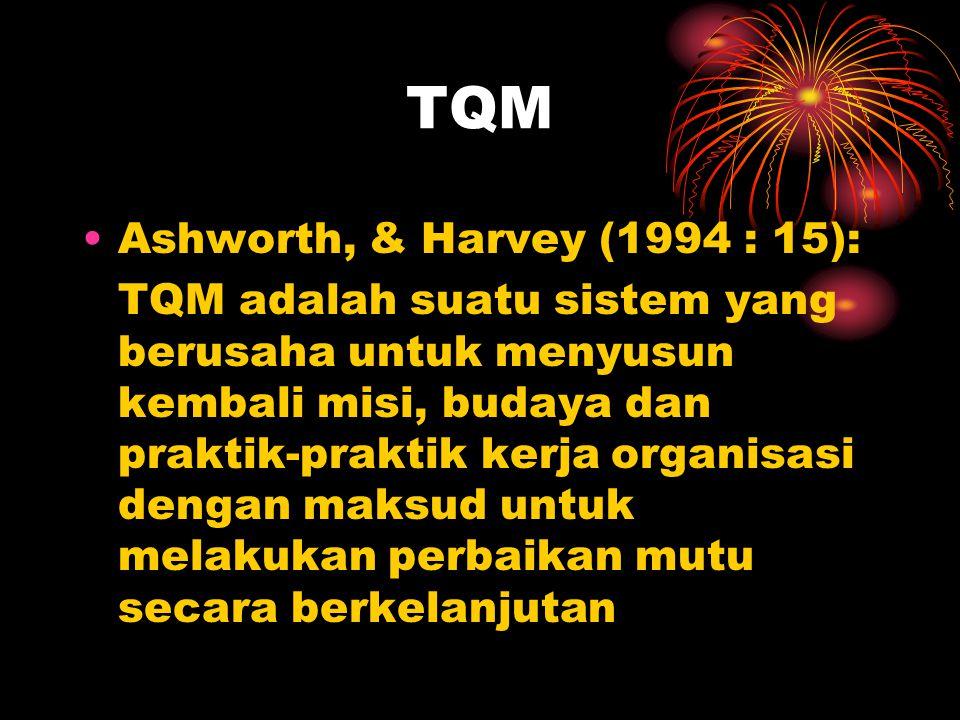 TQM Ashworth, & Harvey (1994 : 15):