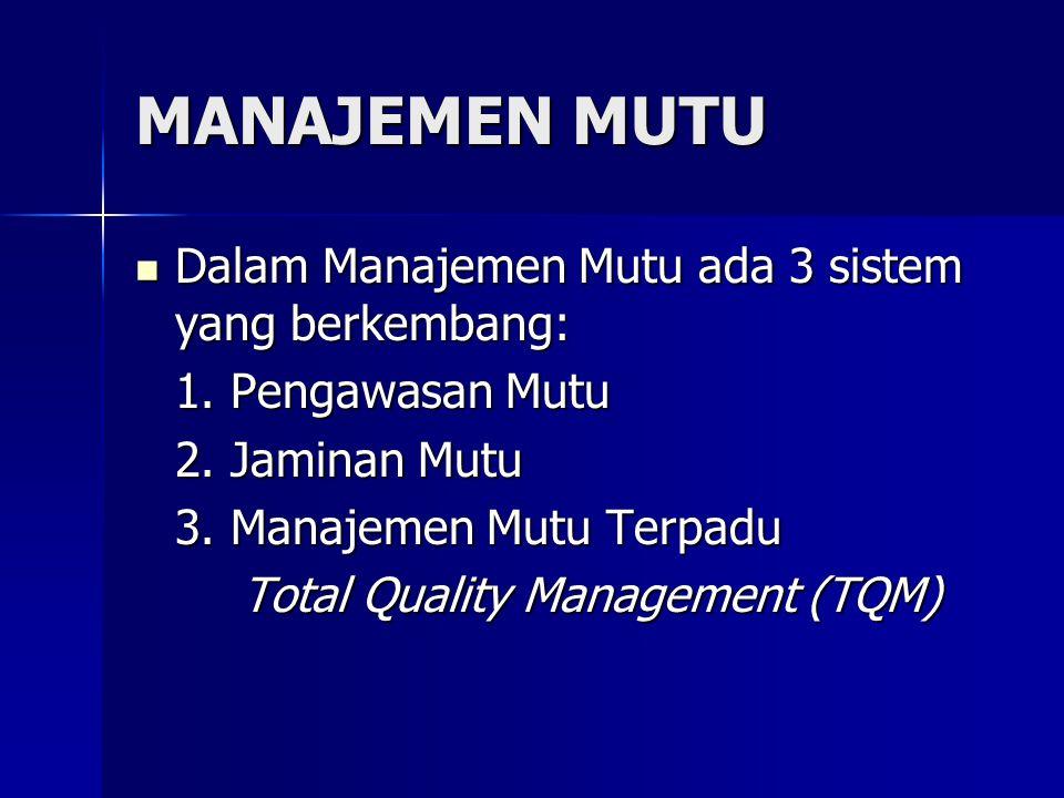 MANAJEMEN MUTU Dalam Manajemen Mutu ada 3 sistem yang berkembang: