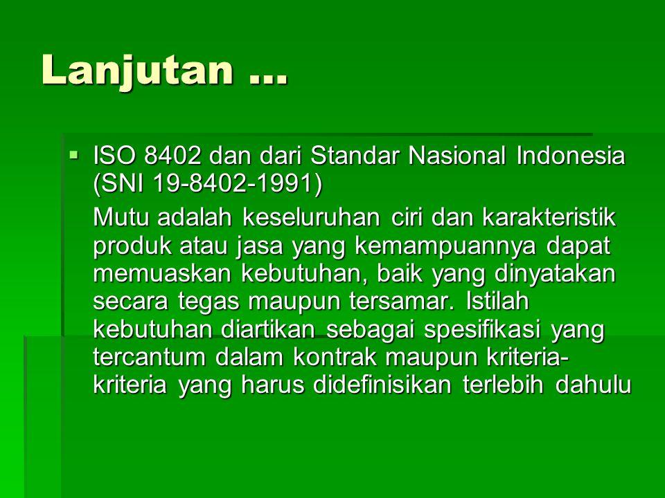 Lanjutan … ISO 8402 dan dari Standar Nasional Indonesia (SNI 19-8402-1991)