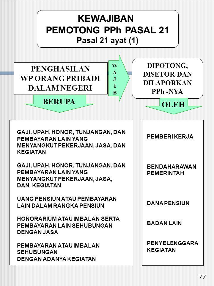 KEWAJIBAN PEMOTONG PPh PASAL 21