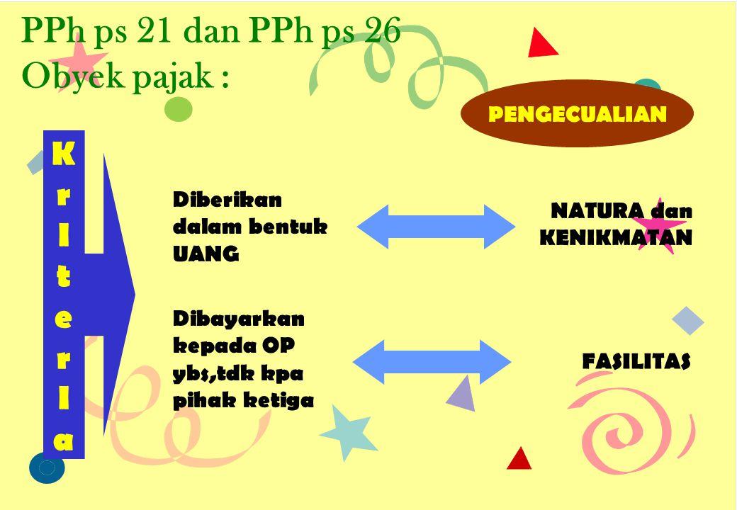 PPh ps 21 dan PPh ps 26 Obyek pajak :
