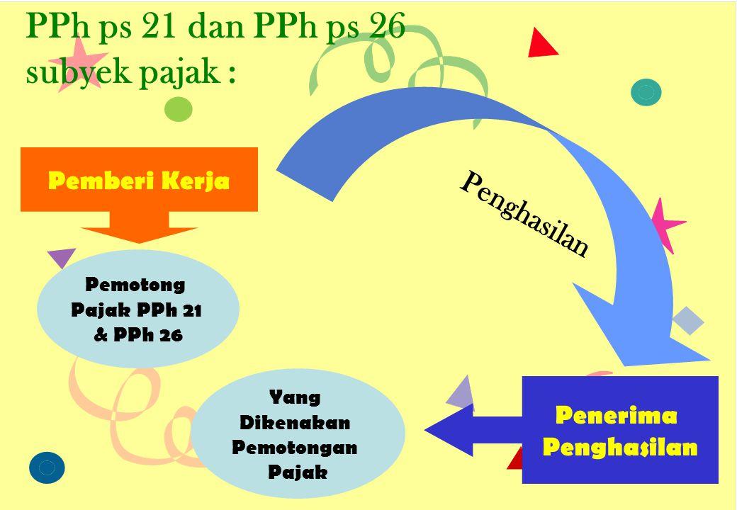 PPh ps 21 dan PPh ps 26 subyek pajak :