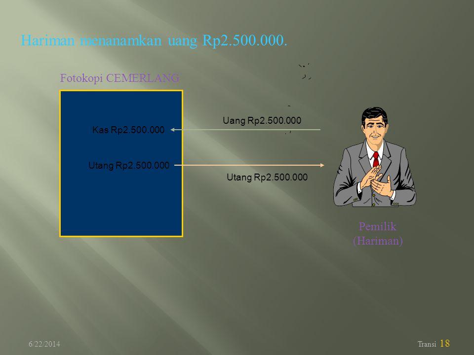Hariman menanamkan uang Rp2.500.000.