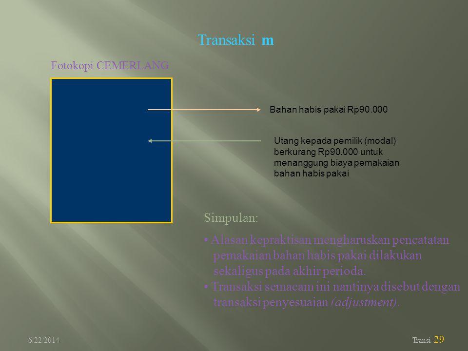 Transaksi m Simpulan: Alasan kepraktisan mengharuskan pencatatan