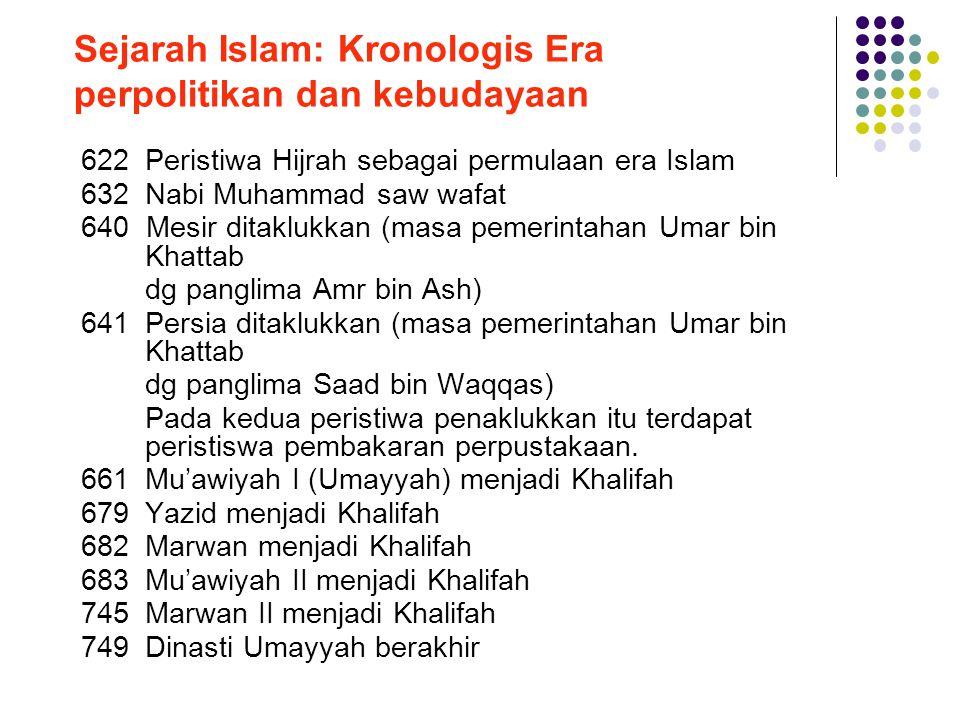 Sejarah Islam: Kronologis Era perpolitikan dan kebudayaan