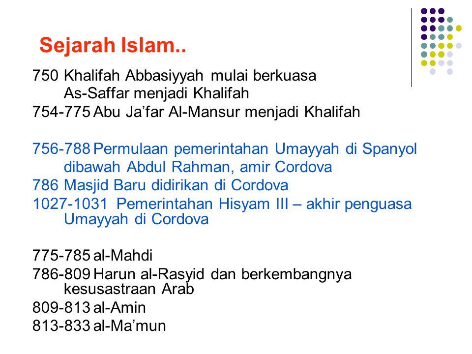 Sejarah Islam.. 750 Khalifah Abbasiyyah mulai berkuasa
