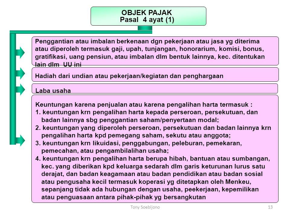 OBJEK PAJAK Pasal 4 ayat (1)