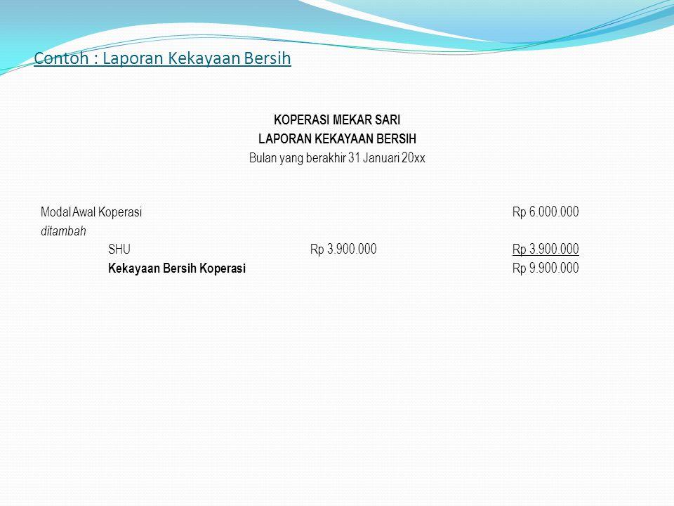 Contoh : Laporan Kekayaan Bersih