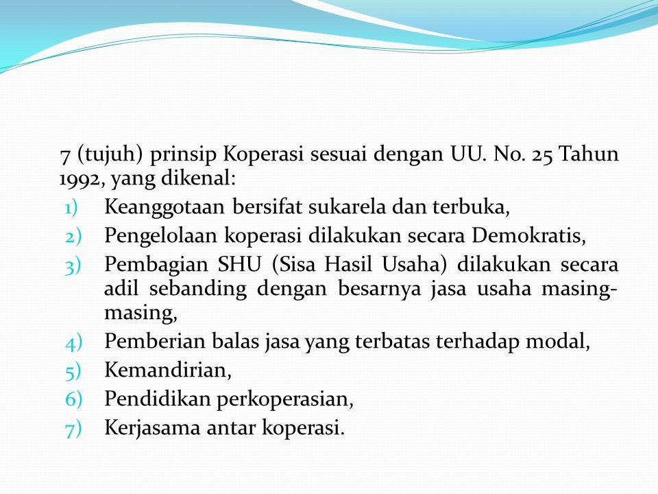 7 (tujuh) prinsip Koperasi sesuai dengan UU. No