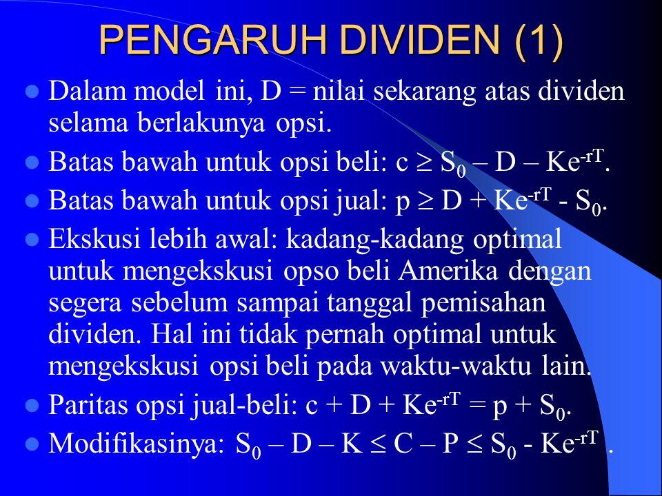 PENGARUH DIVIDEN (1) Dalam model ini, D = nilai sekarang atas dividen selama berlakunya opsi. Batas bawah untuk opsi beli: c  S0 – D – Ke-rT.