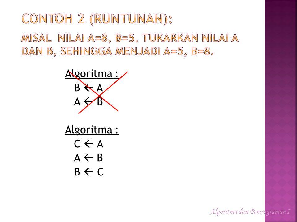 Contoh 2 (runtunan): Misal nilai A=8, B=5