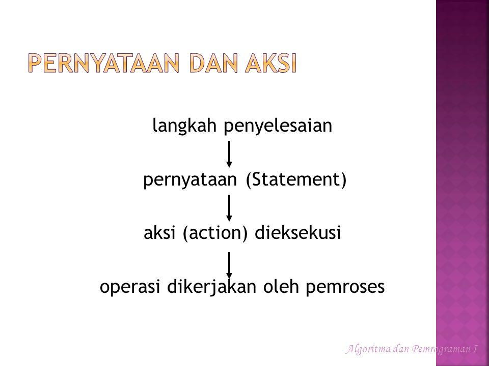 Pernyataan dan Aksi langkah penyelesaian pernyataan (Statement) aksi (action) dieksekusi operasi dikerjakan oleh pemroses