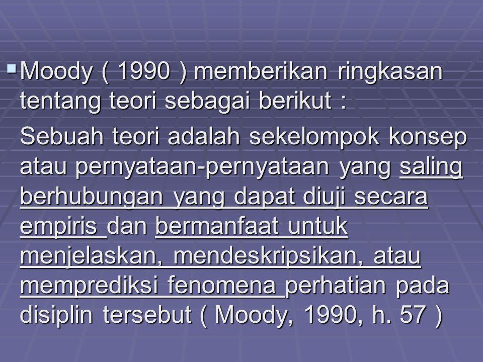 Moody ( 1990 ) memberikan ringkasan tentang teori sebagai berikut :