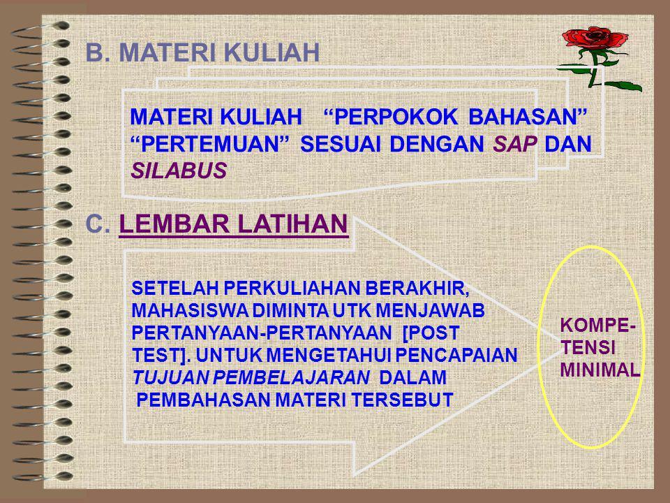 B. MATERI KULIAH C. LEMBAR LATIHAN MATERI KULIAH PERPOKOK BAHASAN