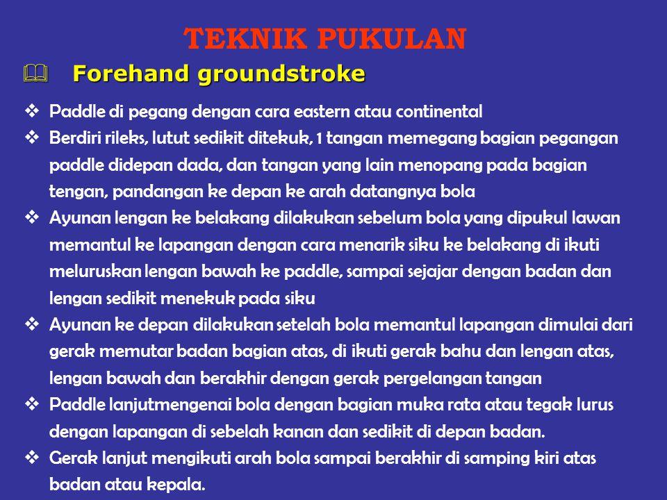 TEKNIK PUKULAN Forehand groundstroke