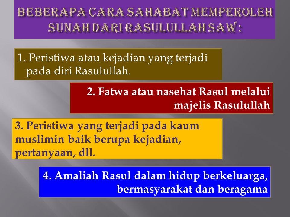 Beberapa cara sahabat memperoleh sunah dari Rasulullah SAW :