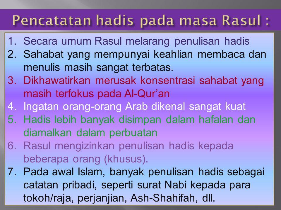 Pencatatan hadis pada masa Rasul :