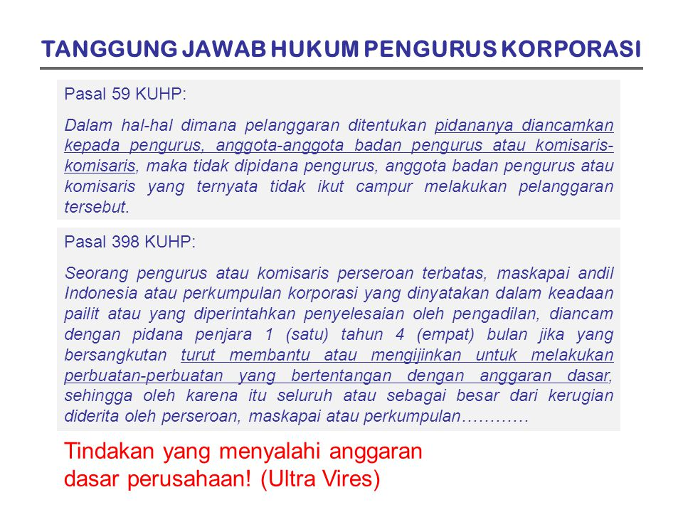TANGGUNG JAWAB HUKUM PENGURUS KORPORASI
